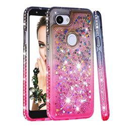Diamond Frame Liquid Glitter Quicksand Sequins Phone Case for Google Pixel 3A - Gray Pink