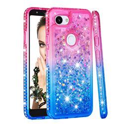 Diamond Frame Liquid Glitter Quicksand Sequins Phone Case for Google Pixel 3A - Pink Blue