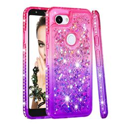 Diamond Frame Liquid Glitter Quicksand Sequins Phone Case for Google Pixel 3A - Pink Purple