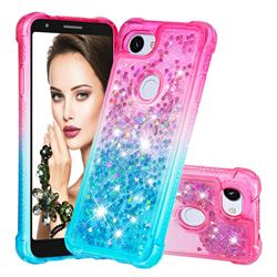 Rainbow Gradient Liquid Glitter Quicksand Sequins Phone Case for Google Pixel 3A - Pink Blue