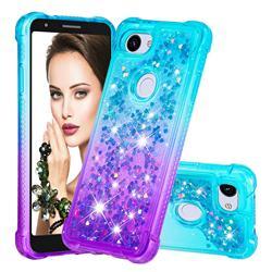 Rainbow Gradient Liquid Glitter Quicksand Sequins Phone Case for Google Pixel 3A - Blue Purple