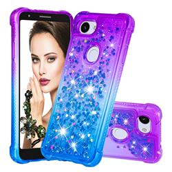 Rainbow Gradient Liquid Glitter Quicksand Sequins Phone Case for Google Pixel 3A - Purple Blue