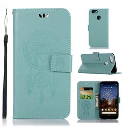 Intricate Embossing Owl Campanula Leather Wallet Case for Google Pixel 3A - Green