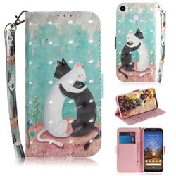 Black and White Cat 3D Painted Leather Wallet Phone Case for Google Pixel 3A