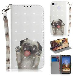 Pug Dog 3D Painted Leather Wallet Phone Case for Google Pixel 3A