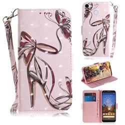 Butterfly High Heels 3D Painted Leather Wallet Phone Case for Google Pixel 3A