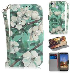 Watercolor Flower 3D Painted Leather Wallet Phone Case for Google Pixel 3A