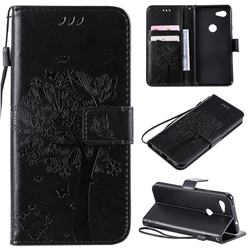 Embossing Butterfly Tree Leather Wallet Case for Google Pixel 3A - Black