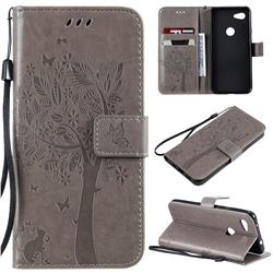Embossing Butterfly Tree Leather Wallet Case for Google Pixel 3A - Grey
