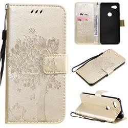 Embossing Butterfly Tree Leather Wallet Case for Google Pixel 3A - Champagne