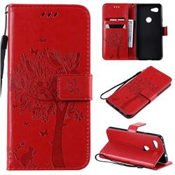 Embossing Butterfly Tree Leather Wallet Case for Google Pixel 3A - Red