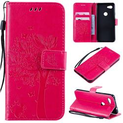 Embossing Butterfly Tree Leather Wallet Case for Google Pixel 3A - Rose