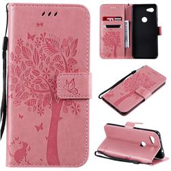 Embossing Butterfly Tree Leather Wallet Case for Google Pixel 3A - Pink