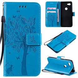 Embossing Butterfly Tree Leather Wallet Case for Google Pixel 3A - Blue