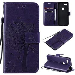 Embossing Butterfly Tree Leather Wallet Case for Google Pixel 3A - Purple