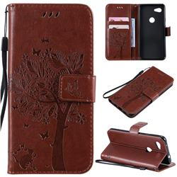 Embossing Butterfly Tree Leather Wallet Case for Google Pixel 3A - Coffee