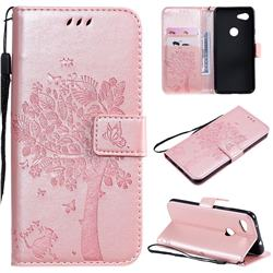 Embossing Butterfly Tree Leather Wallet Case for Google Pixel 3A - Rose Pink