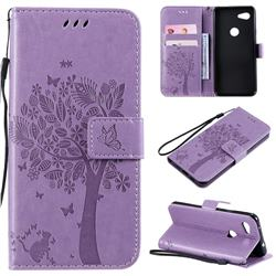 Embossing Butterfly Tree Leather Wallet Case for Google Pixel 3A - Violet