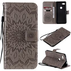 Embossing Sunflower Leather Wallet Case for Google Pixel 3A - Gray