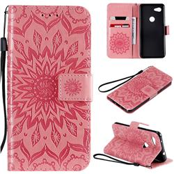 Embossing Sunflower Leather Wallet Case for Google Pixel 3A - Pink