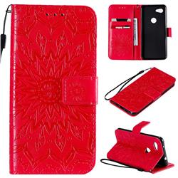 Embossing Sunflower Leather Wallet Case for Google Pixel 3A - Red