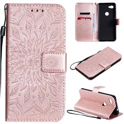 Embossing Sunflower Leather Wallet Case for Google Pixel 3A - Rose Gold