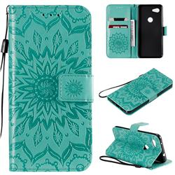 Embossing Sunflower Leather Wallet Case for Google Pixel 3A - Green