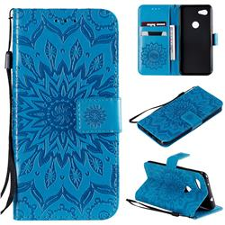Embossing Sunflower Leather Wallet Case for Google Pixel 3A - Blue
