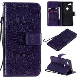 Embossing Sunflower Leather Wallet Case for Google Pixel 3A - Purple