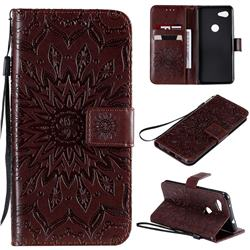 Embossing Sunflower Leather Wallet Case for Google Pixel 3A - Brown
