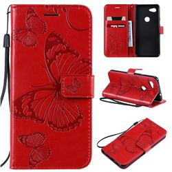 Embossing 3D Butterfly Leather Wallet Case for Google Pixel 3A - Red