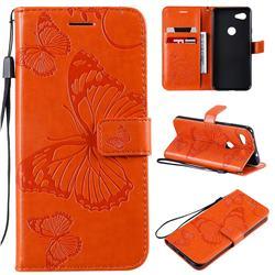 Embossing 3D Butterfly Leather Wallet Case for Google Pixel 3A - Orange