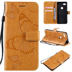 Embossing 3D Butterfly Leather Wallet Case for Google Pixel 3A - Yellow