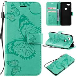 Embossing 3D Butterfly Leather Wallet Case for Google Pixel 3A - Green