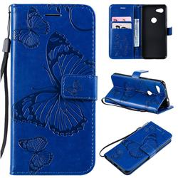 Embossing 3D Butterfly Leather Wallet Case for Google Pixel 3A - Blue
