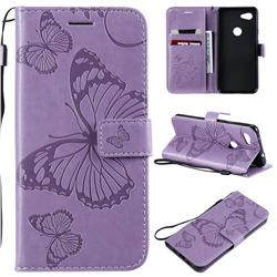 Embossing 3D Butterfly Leather Wallet Case for Google Pixel 3A - Purple