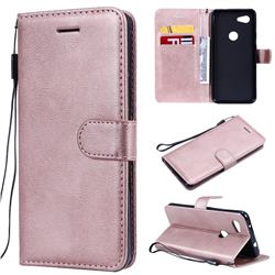 Retro Greek Classic Smooth PU Leather Wallet Phone Case for Google Pixel 3A - Rose Gold