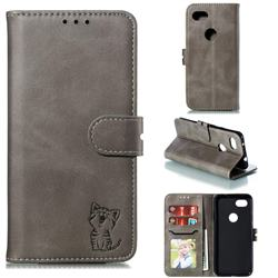 Embossing Happy Cat Leather Wallet Case for Google Pixel 3A - Gray