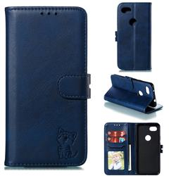 Embossing Happy Cat Leather Wallet Case for Google Pixel 3A - Blue