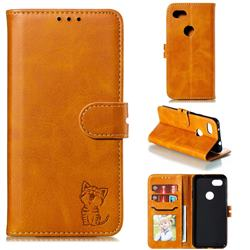 Embossing Happy Cat Leather Wallet Case for Google Pixel 3A - Yellow