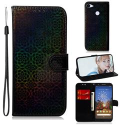 Laser Circle Shining Leather Wallet Phone Case for Google Pixel 3A - Black