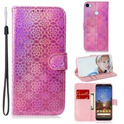 Laser Circle Shining Leather Wallet Phone Case for Google Pixel 3A - Pink