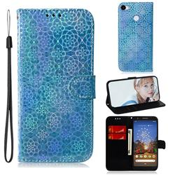 Laser Circle Shining Leather Wallet Phone Case for Google Pixel 3A - Blue