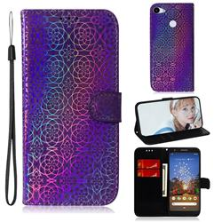 Laser Circle Shining Leather Wallet Phone Case for Google Pixel 3A - Purple