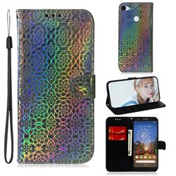 Laser Circle Shining Leather Wallet Phone Case for Google Pixel 3A - Silver