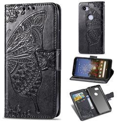 Embossing Mandala Flower Butterfly Leather Wallet Case for Google Pixel 3A - Black