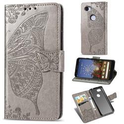 Embossing Mandala Flower Butterfly Leather Wallet Case for Google Pixel 3A - Gray