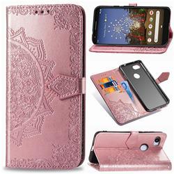 Embossing Imprint Mandala Flower Leather Wallet Case for Google Pixel 3A - Rose Gold