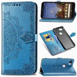 Embossing Imprint Mandala Flower Leather Wallet Case for Google Pixel 3A - Blue