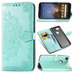 Embossing Imprint Mandala Flower Leather Wallet Case for Google Pixel 3A - Green